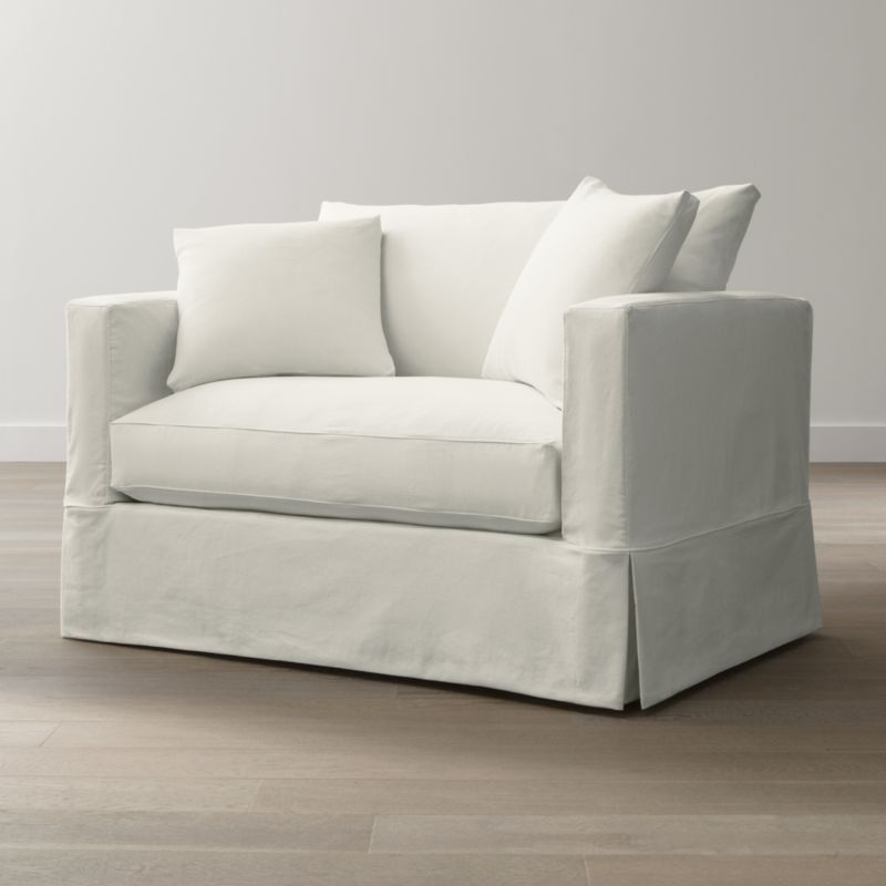 Willow White Slipcovered Chair and a Half + Reviews