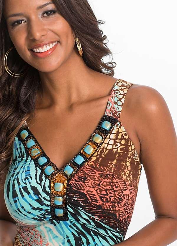 5c2191d38 Beaded Summer Dress by BODYFLIRT boutique | Printed beach dresses ...