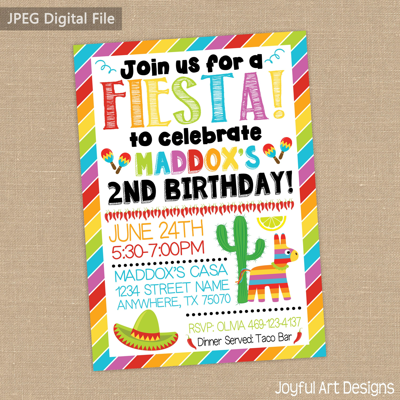 Fiesta Birthday Party. Fiesta Party invitation. Birthday invitation ...