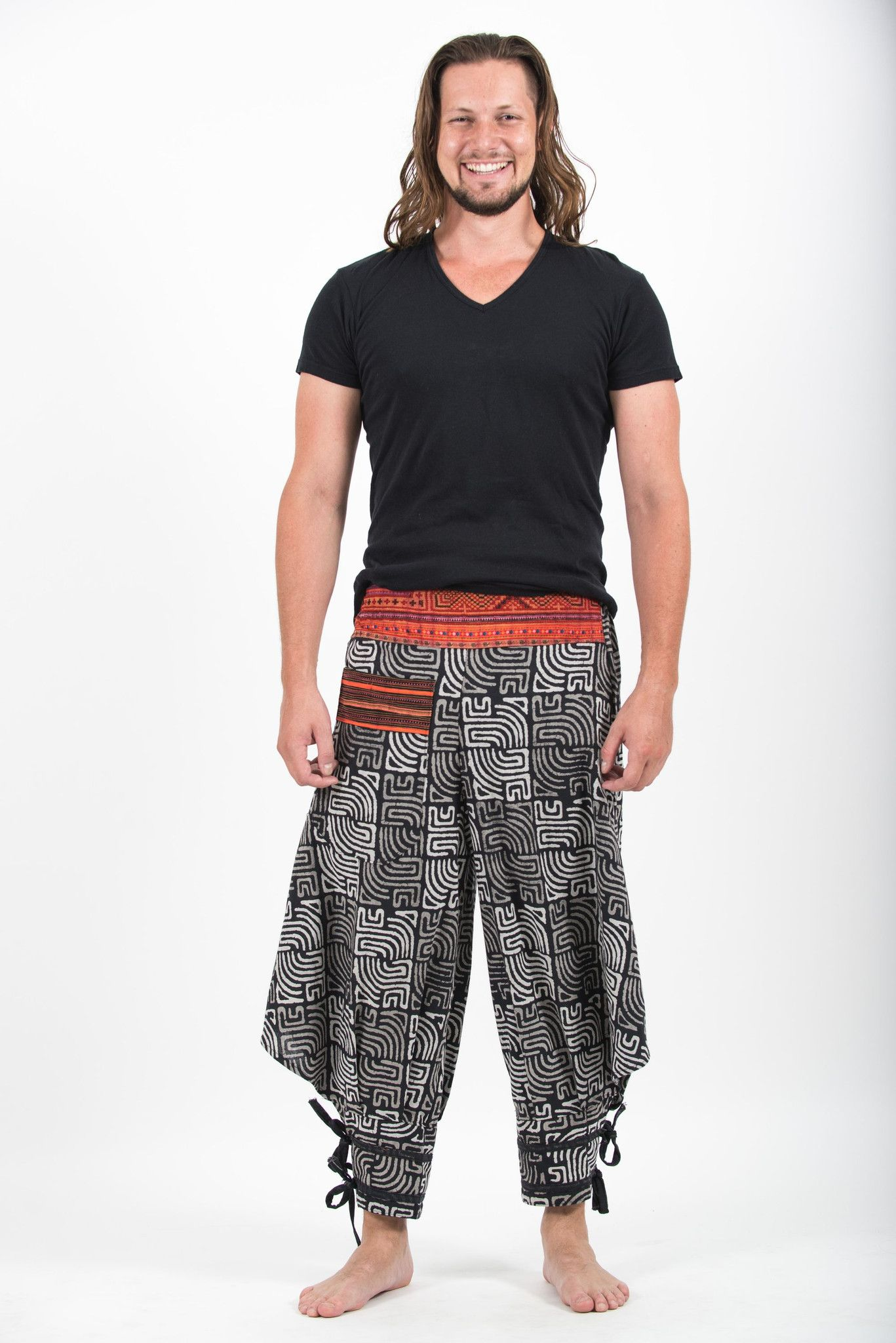 Maze Prints Thai Hill Tribe Fabric Men's Harem Pants with Ankle Straps in Black