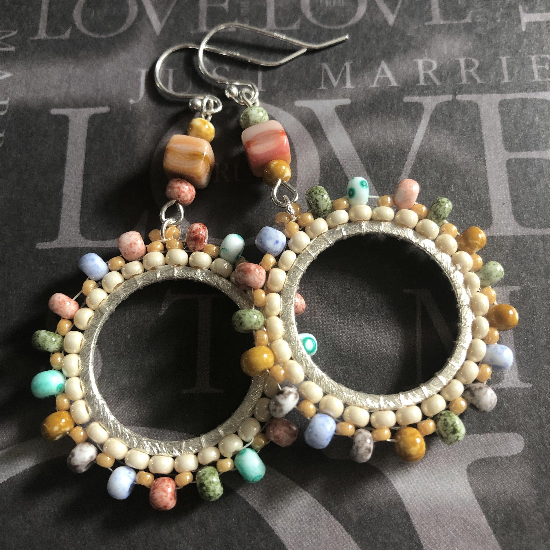 Beach earrings seed bead earrings hoop earrings small