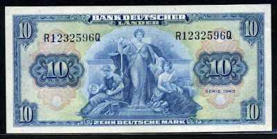 German banknotes 10 Deutsche Mark banknote of 1949 Bank