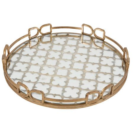 Decorative Mirror Tray Delectable Featuring A Golden Frame And Mirrored Trellis Motif This Lovely Review