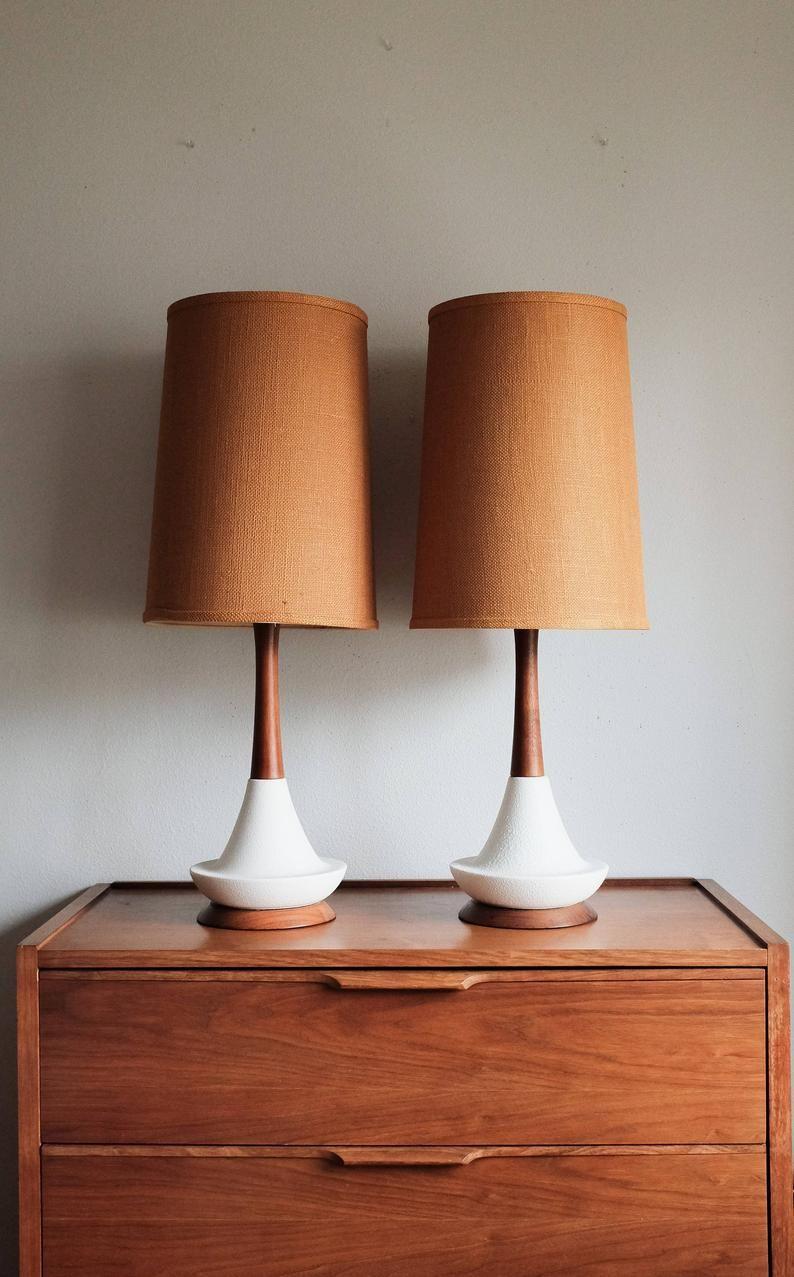 Mid Century Danish Teak Ceramic Table Lamp Etsy In 2020 Mid Century Lamp Ceramic Table Lamps Ceramic Table