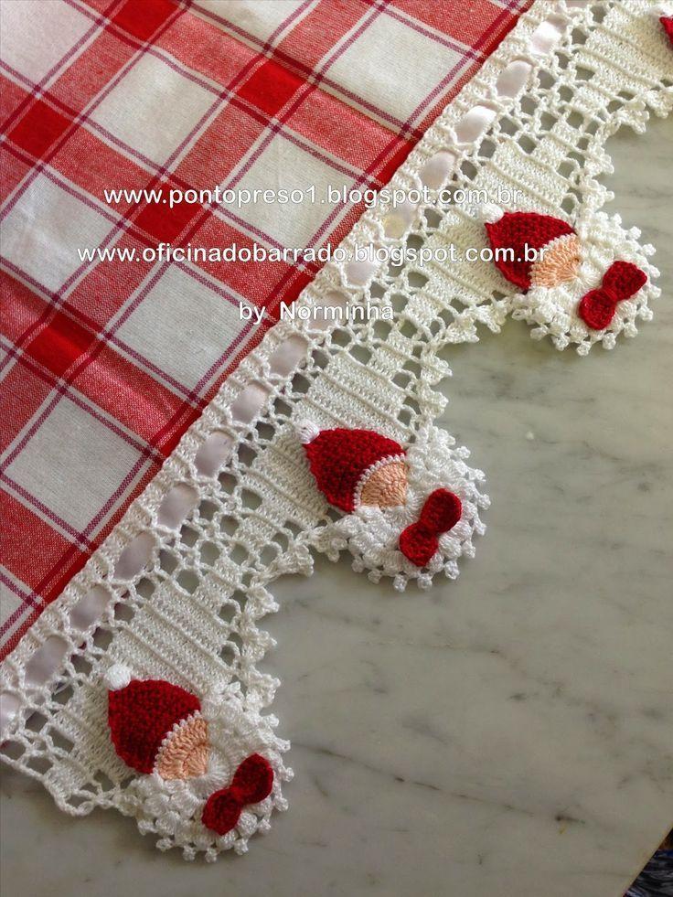 Bordure natalizie all uncinetto con schema del babbo for Bordure per tovaglie all uncinetto
