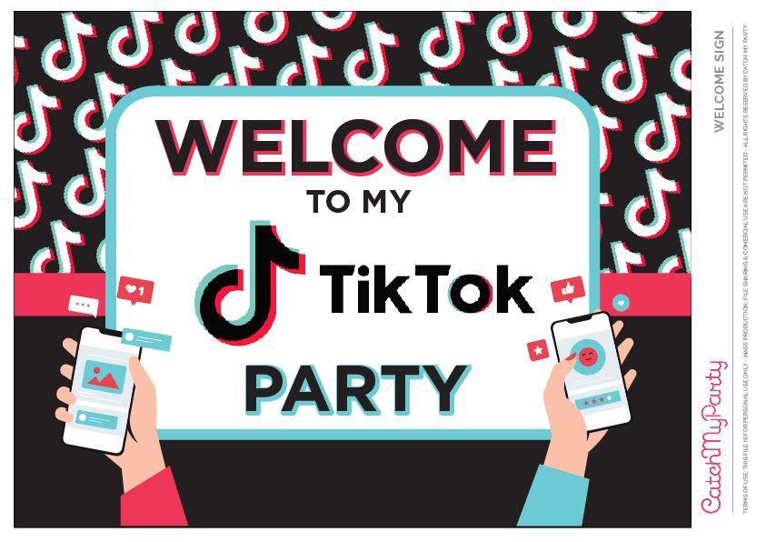 Download These Fun Free Tiktok Party Printables Welcome Poster Party Printables Party Printables Free Birthday Party Printables Free