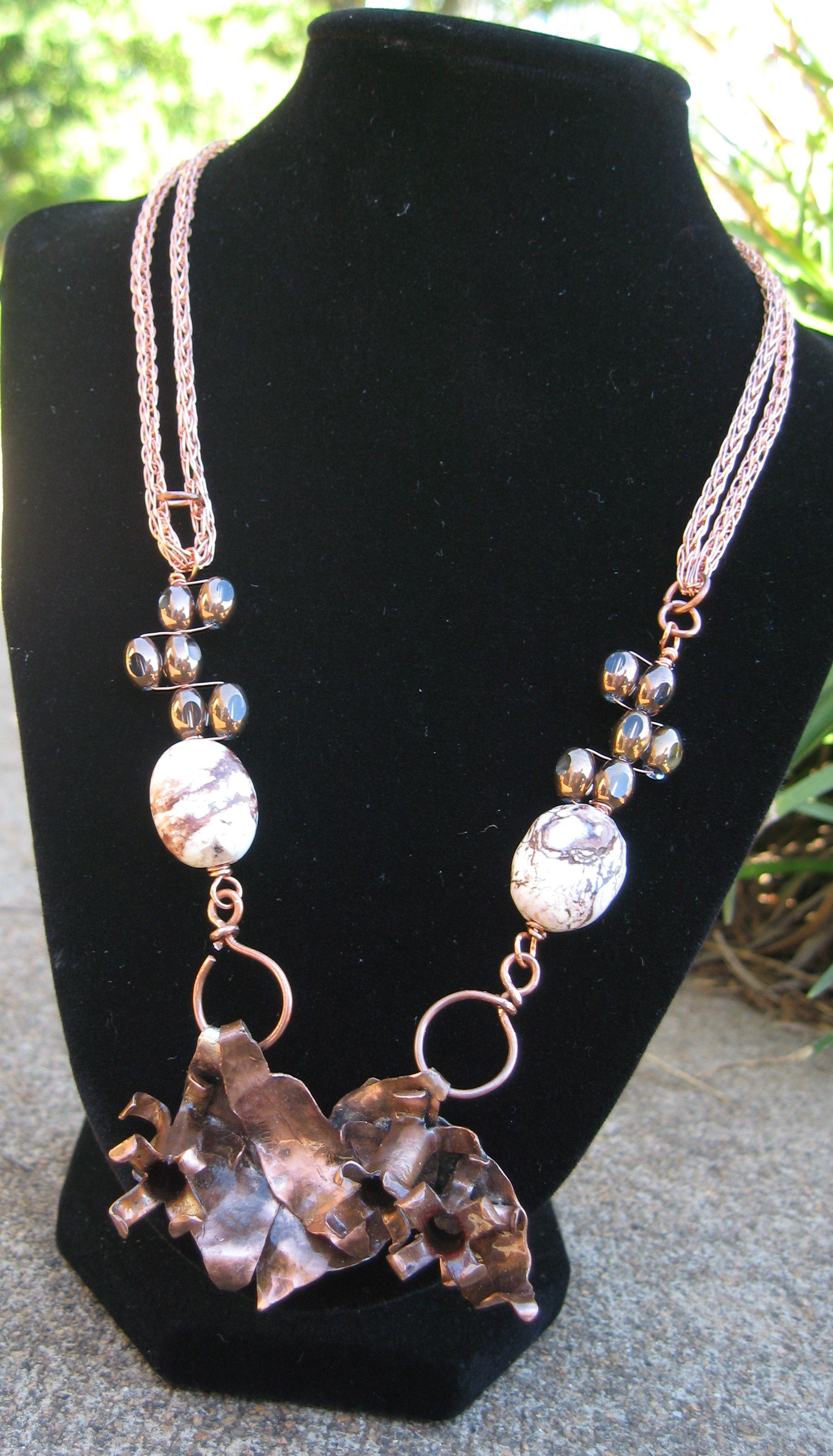 hand forged, semi precious, glass, daffodils, toggle clasp, viking chain, necklace, hand made