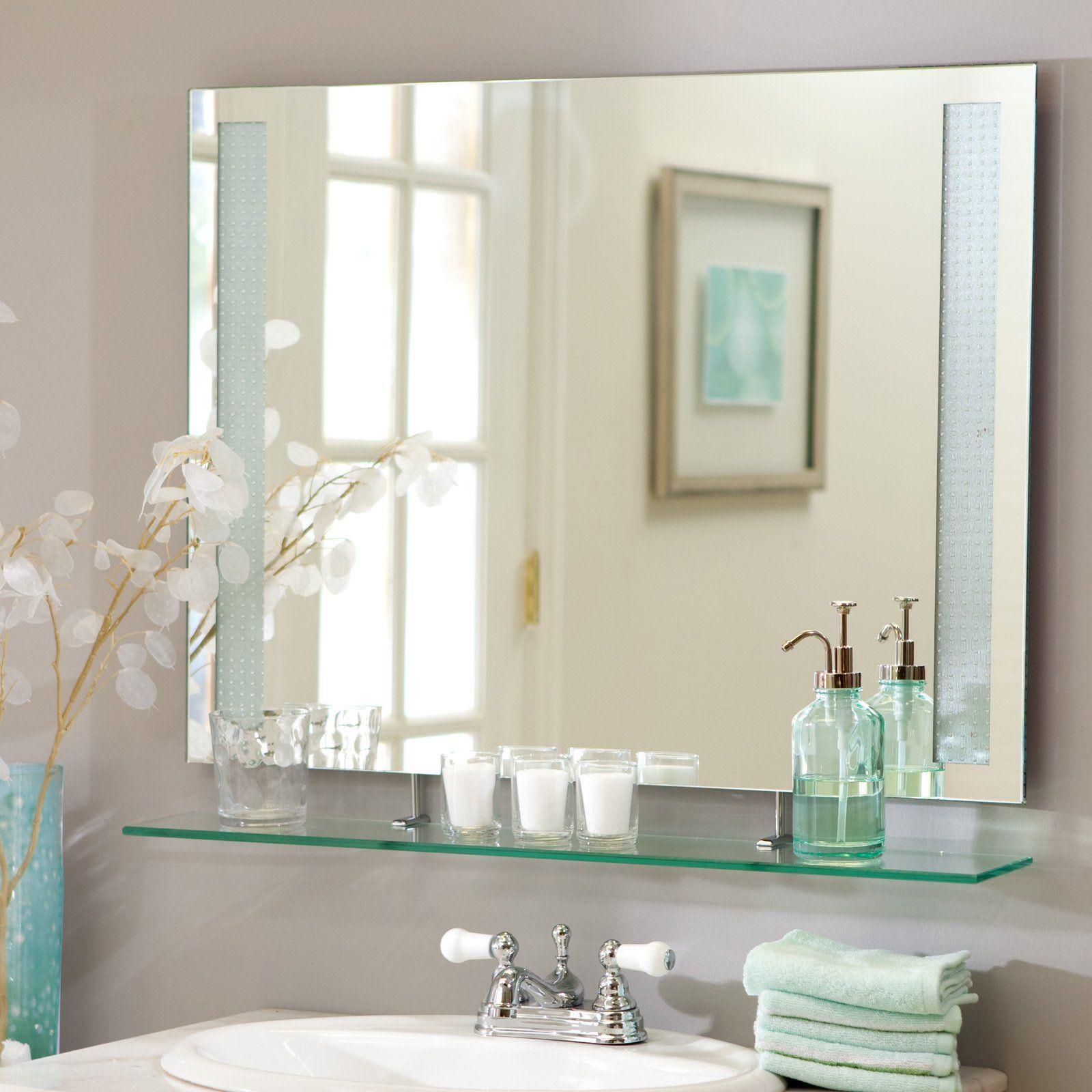 Décor Wonderland Frameless Roxi Wall Mirror with Shelf - 31.5W x ...