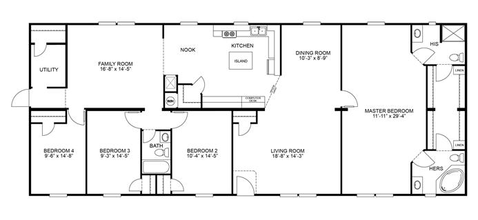 Interactive floorplan keystone 32x80 76 dwg 29m002 for Keystone homes floor plans