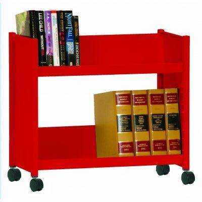 Sloped Shelf Welded Bookcase In Fire Engine Red