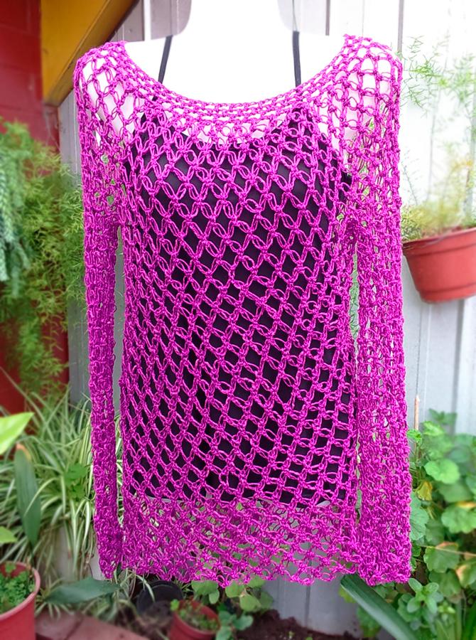 Crochet punto nudo salomon - Polera manga larga Primavera-Verano Tejido by Suhyza Tejidos