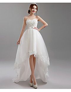 A-Line Sweetheart Asymmetrical Lace Tulle Wedding Dress with Beading ...