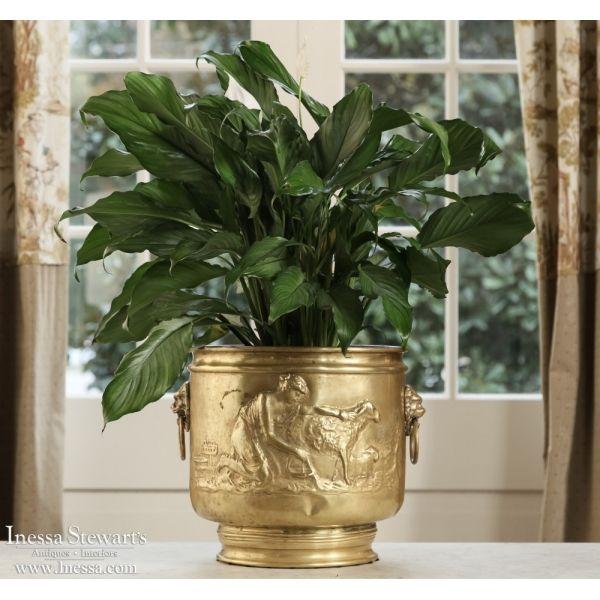 Antique Accessories | Antique Urns/Jardinieres | Embossed Brass Jardiniere | www.inessa.com
