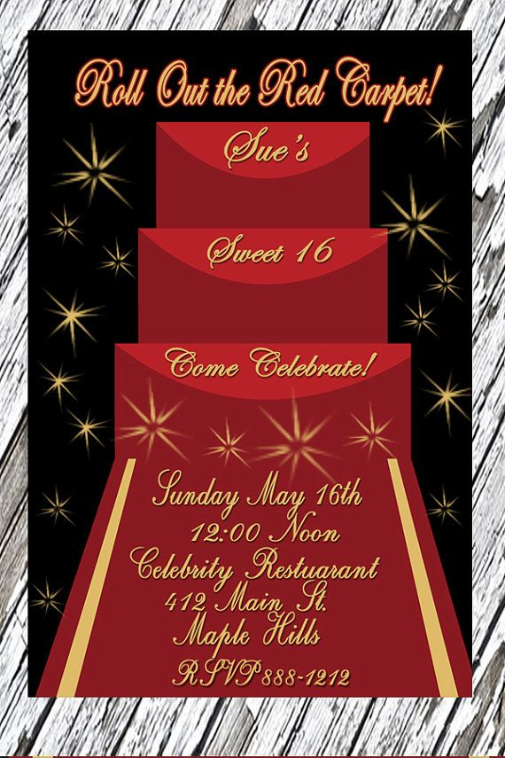 Sweet 16 Invitation, Quinceanera Party, Red Carpet Party ...