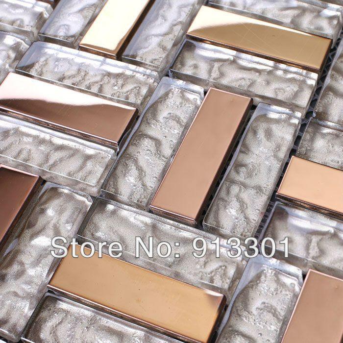 Mosaic tiles mirror metal stainless steel pattern
