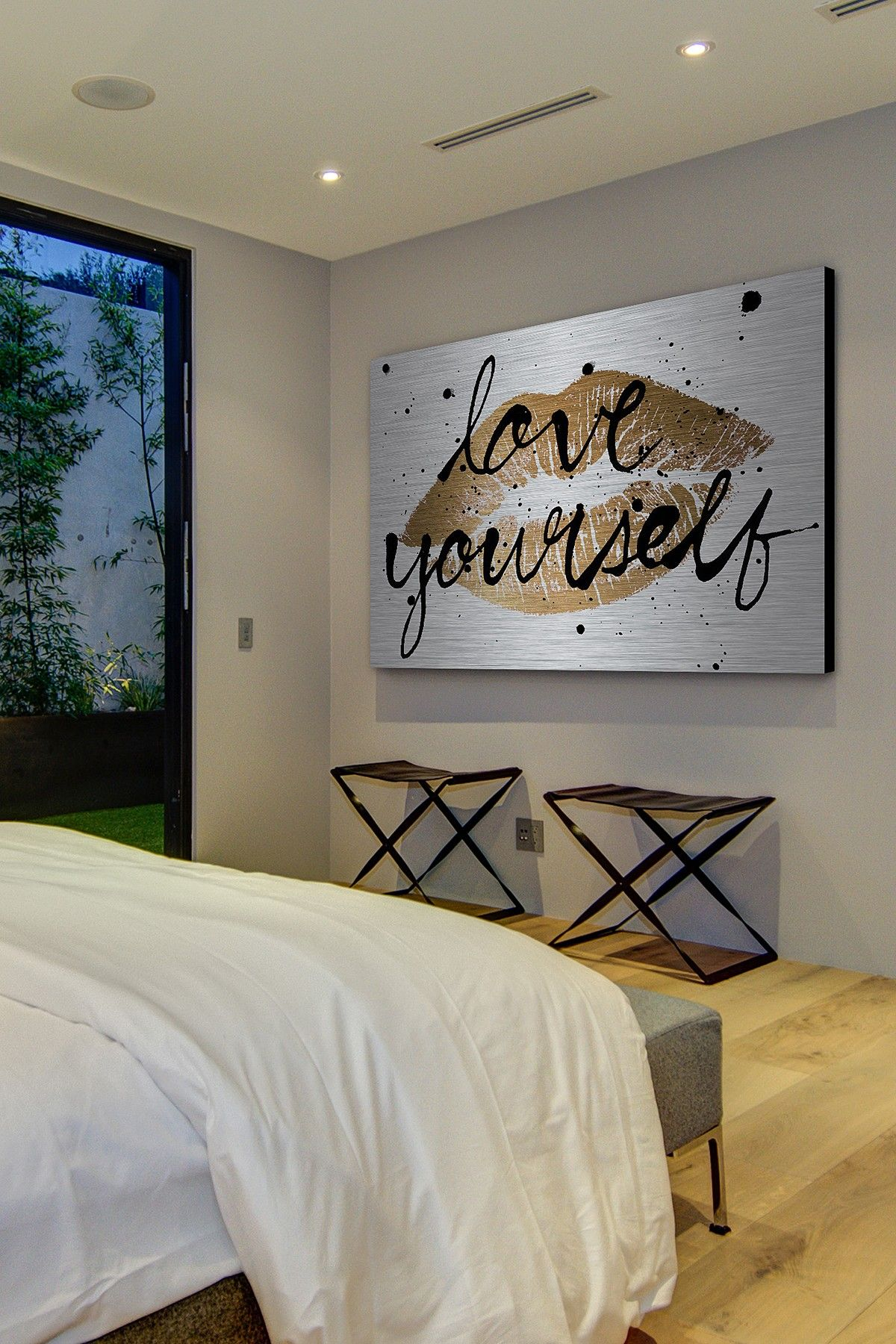 Love yourself gold lips aluminum wall art on hautelook - Wall hangings for bedroom ...