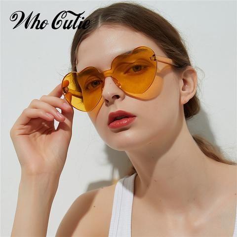 8cd6b7414c WHO CUTIE 2018 Vintage Heart Shape Sunglasses Women Brand Design Rimless  Frame Sun Glasses Purple Red Pink Yellow Shades OM448