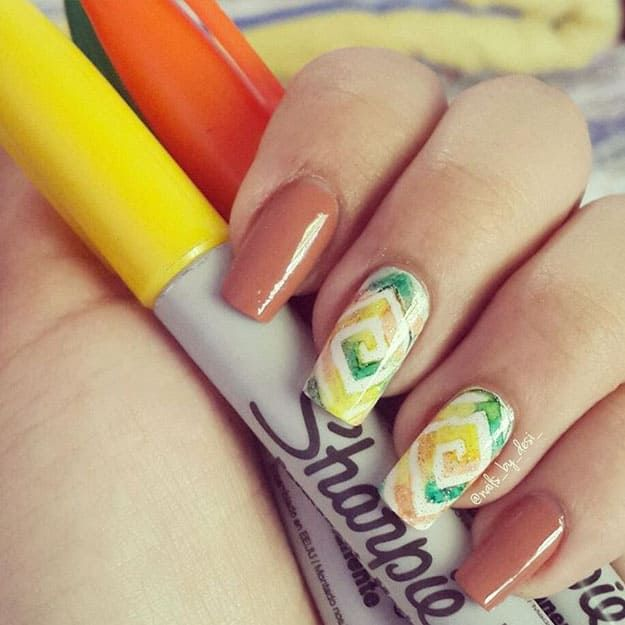 Round And Round Sharpie Nail Art Designs Youll Surely Love