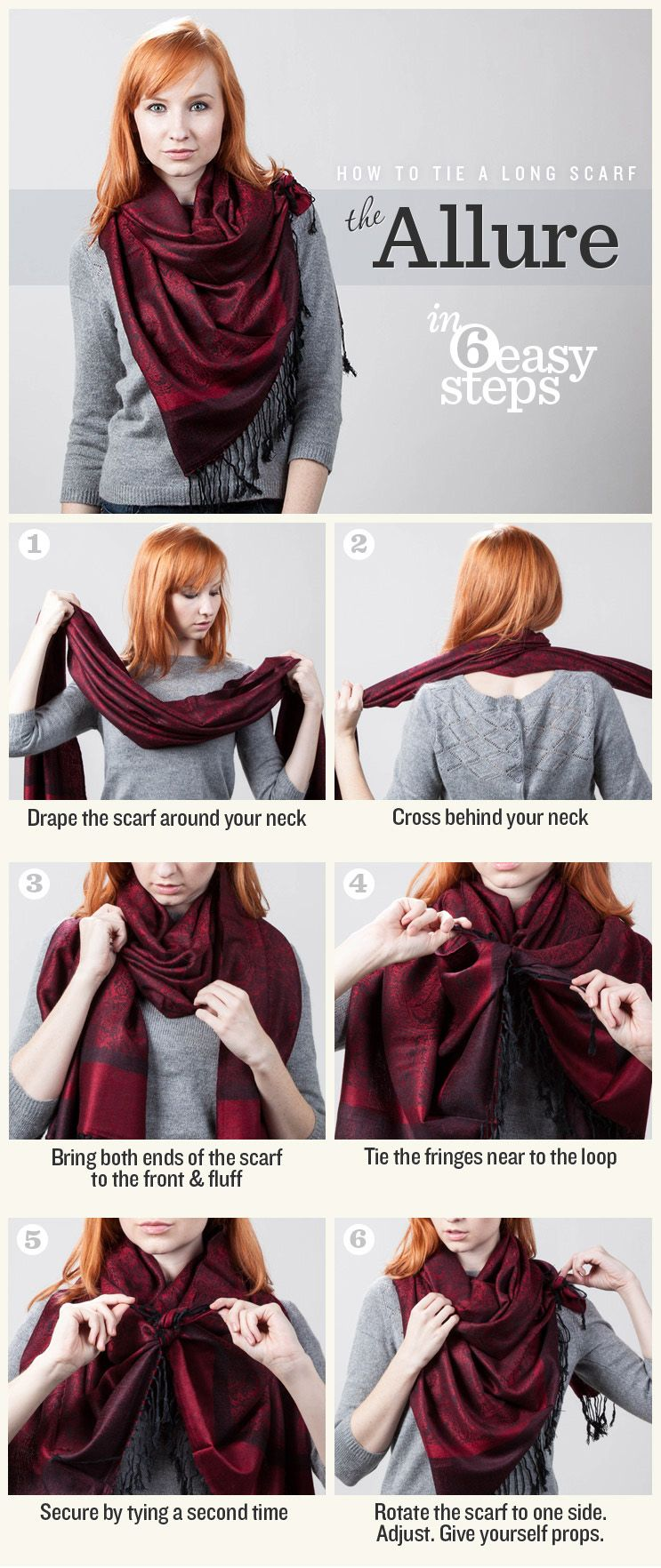 d89724d3b165 Re  Ways to Tie a Scarf   fashion   Pinterest   Foulard, Echarpe and ...