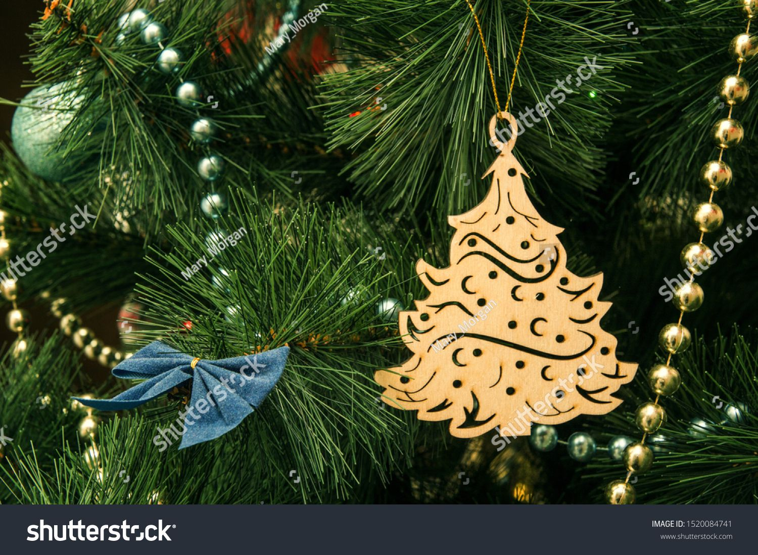 Close Up Macro Christmas Tree Decoration In The Form Of A Vintage Wooden Christmas Tree F Christmas Tree Decorations Wooden Christmas Trees Tree Decorations