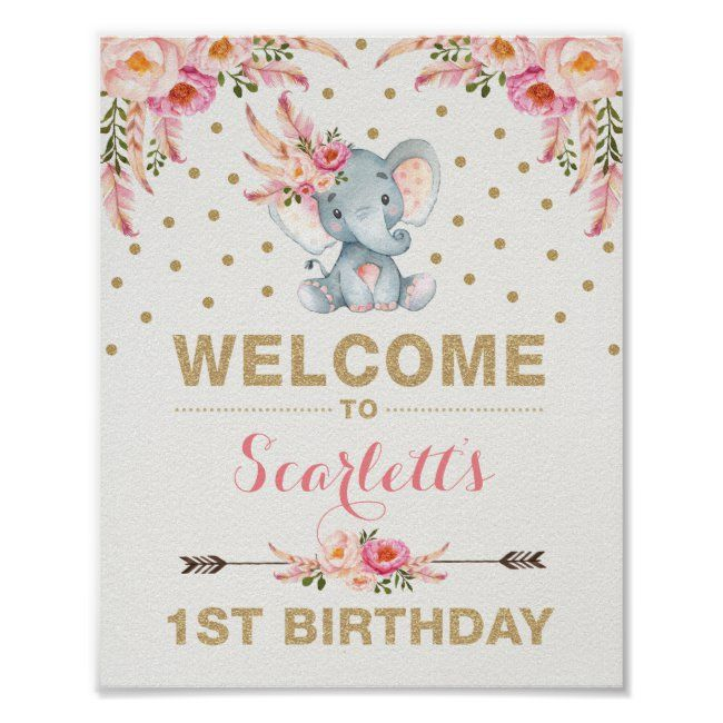 Pink Boho Elephant First Birthday Welcome Sign
