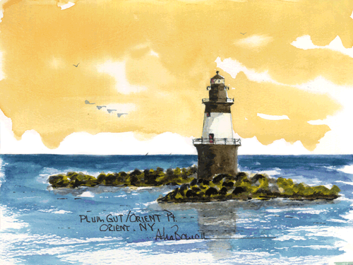 Plum Gut, Orient Point Watercolor prints and note cards of over 250 lighthouses all over the USA. Start your collection today. Original paintings by sailor/artist Alfred La Banca, Darien, CT