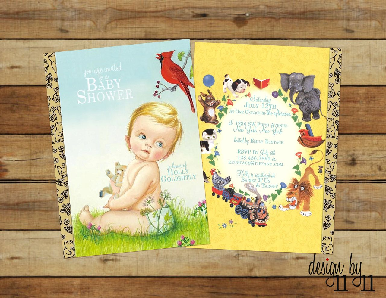 baby shower invitation wording for bringing diapers%0A Vintage Little Golden Book Baby Shower Invitation by designby