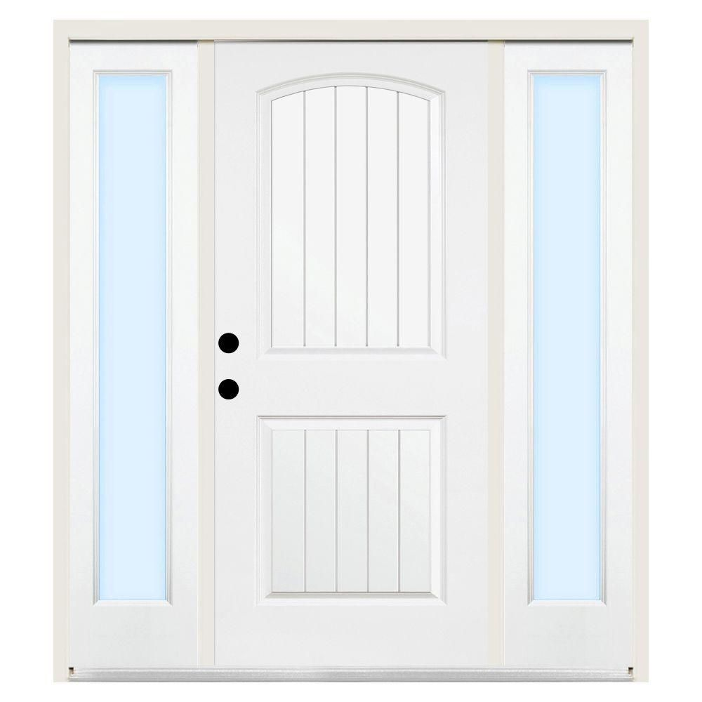 Steves Sons Premium 2 Panel Plank Primed White Steel Entry Door With 12 In Clear Sidelites 1022 Dslcri At The Home Depot Entry Doors Glass Panel Door Clear Glass