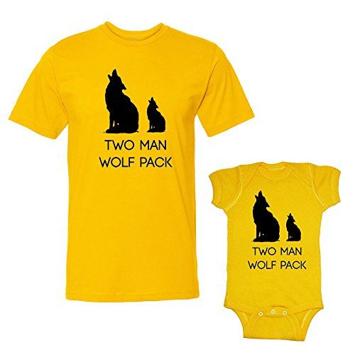 We Match Two Man Wolf Pack Matching Adult TShirt  Baby Bodysuit Set 12 Months Bodysuit Adult TShirt Large Gold * Learn more by visiting the image link.Note:It is affiliate link to Amazon.