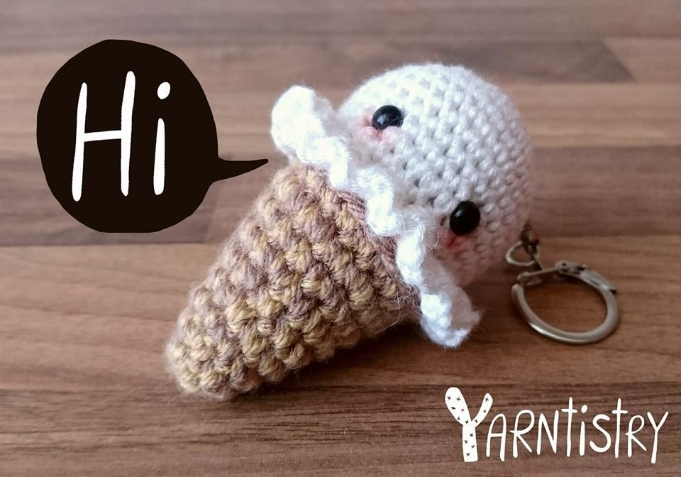 DIY Ice cream keychain tutorial #AMIGURUMI #icecream #crochet
