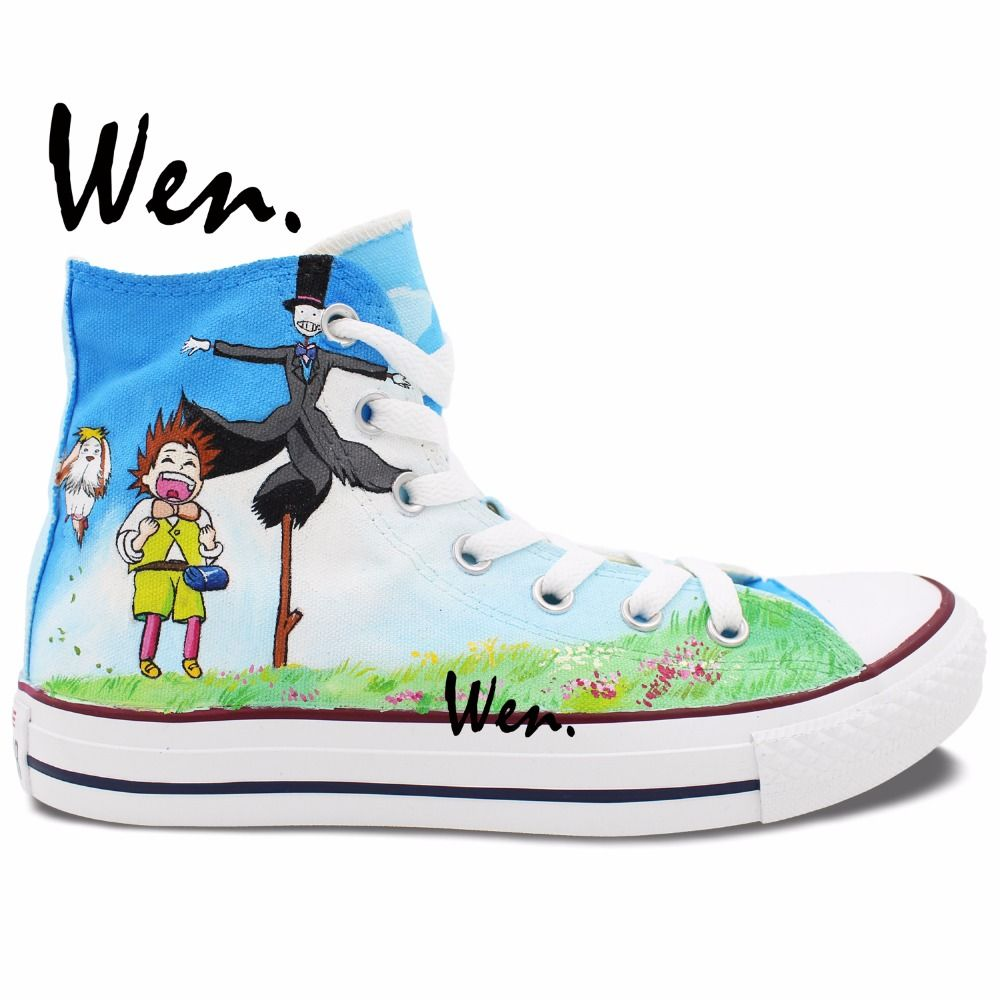 87f8337bab13 Wen Anime Hand Painted Shoes Custom Design Howl s Moving Castle Men Women s  High Top Casual Canvas