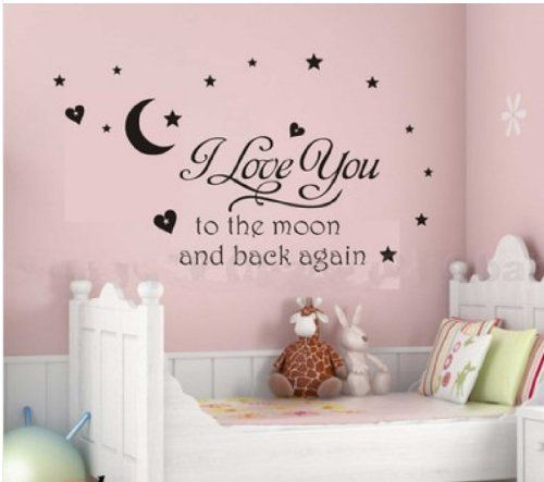 I Love You To The Moon and Back Wall Decal Quote Vinyl Baby Room Removable Decor