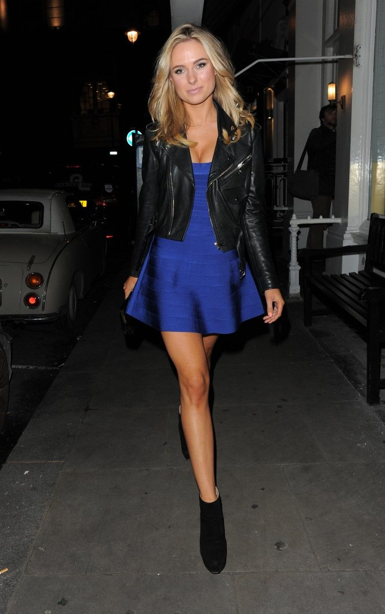 a perfect New Year's dress! Leather jacket, blue Herve Leger dress ...