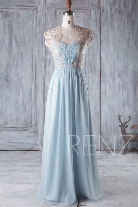 7ad8323f177 Bridesmaid Dress Light Blue Chiffon Gold Lace Maxi Dress Wedding ...