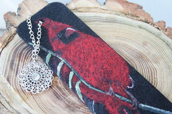 Felt Cardinal Bookmark  Handpainted Bird in acrylic by ArtfullyReDesigned
