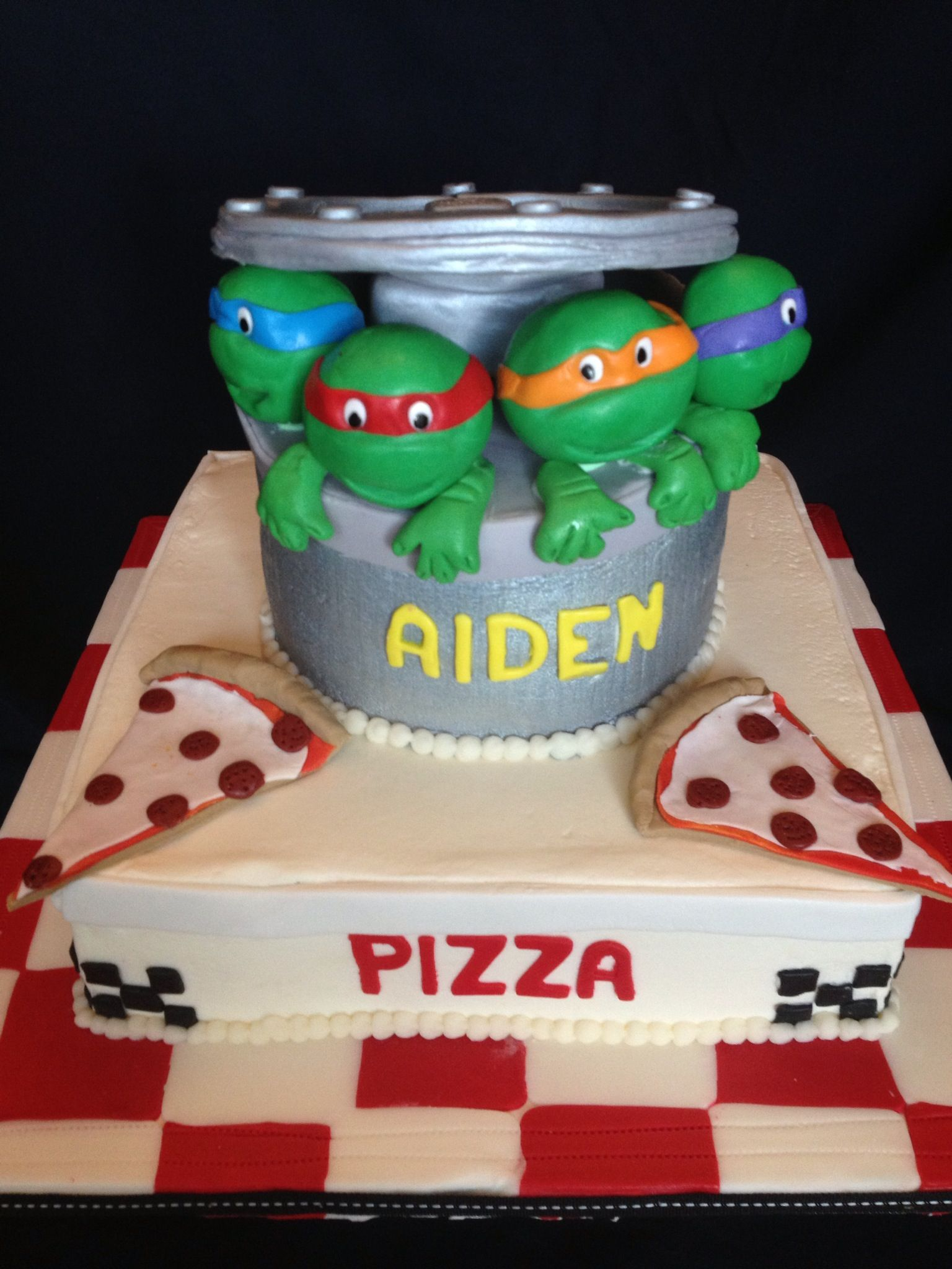 TMNT custom cake. Buttercream iced with fondant and gumpaste decorations