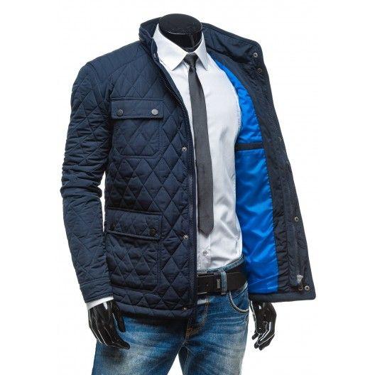 b324e01ebdec7 Pánska prešívaná elegantná zimná bunda tmavo modrej farby - fashionday.eu