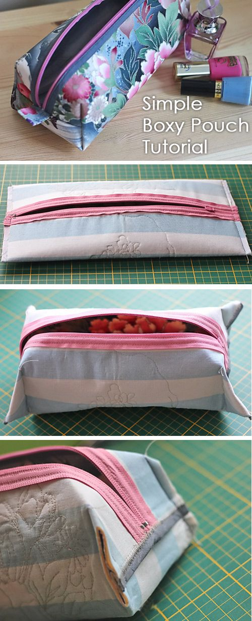 Simple Boxy Pouch Tutorial #bagsewingpatterns