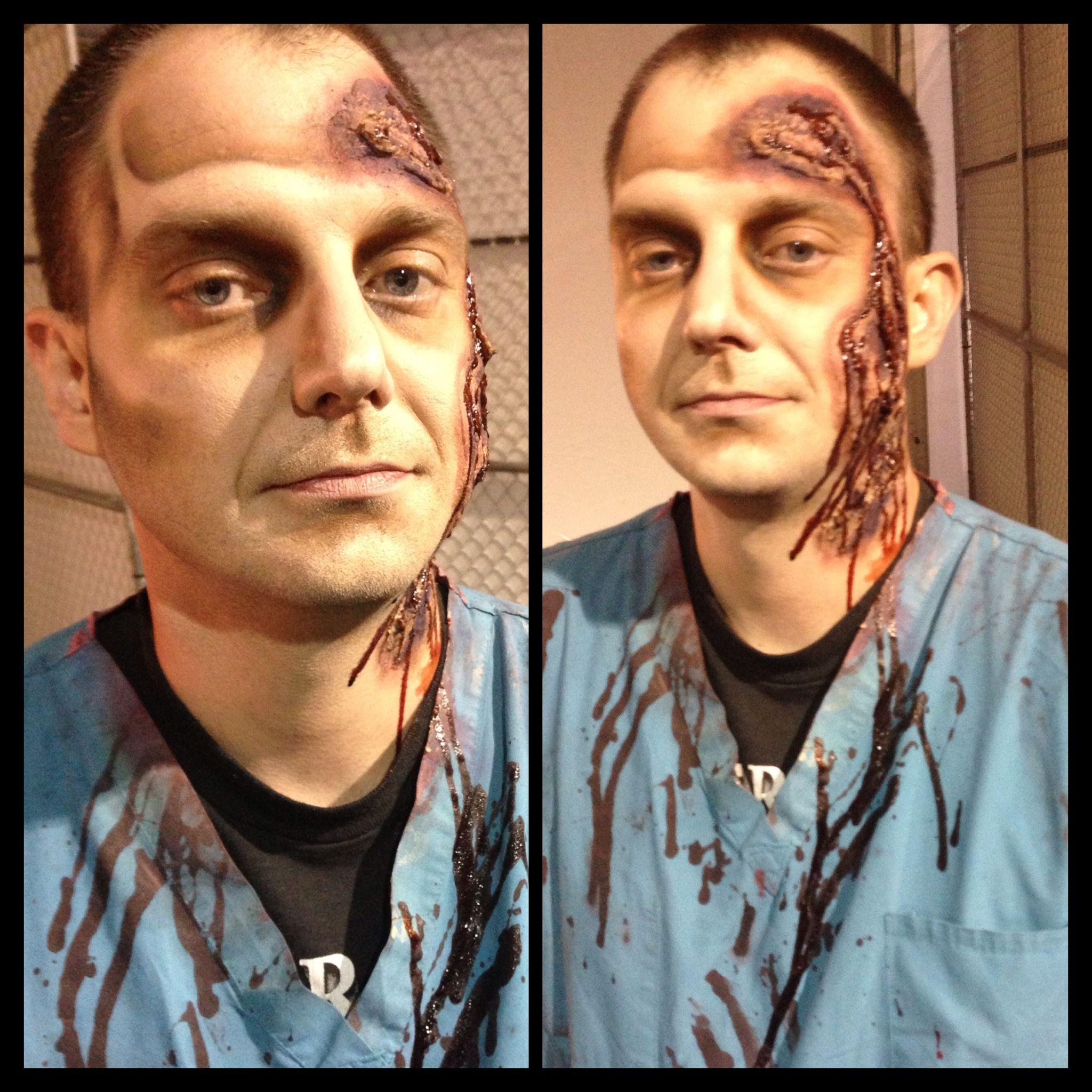 Zombie/wound makeup. MUA: Becki Morgan. #zombie #halloween #halloweenmakeup #makeup #makeupartist #scary #blood