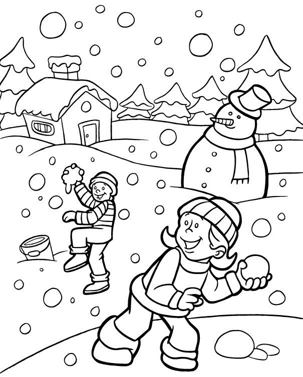 Snowball Fight Snow Snowmen Mittens For Preschool Coloring Pages