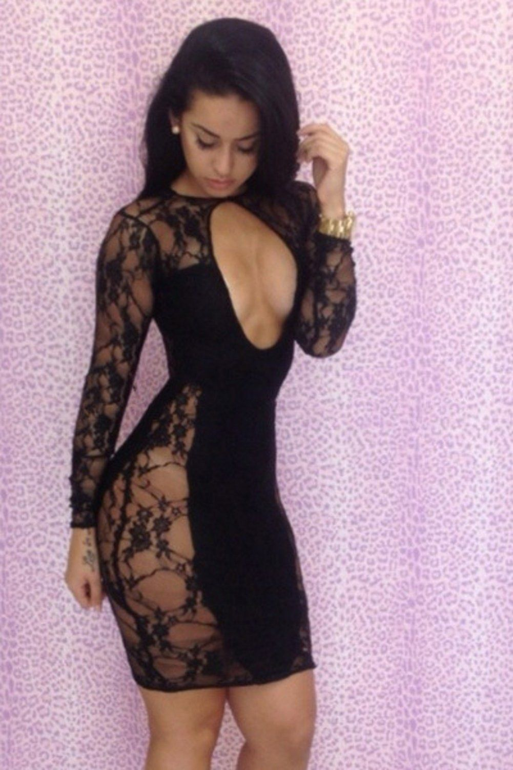 Rsan Sexy Cut Out See-through Lace Dress Clubwear (Black 30fe370e9570
