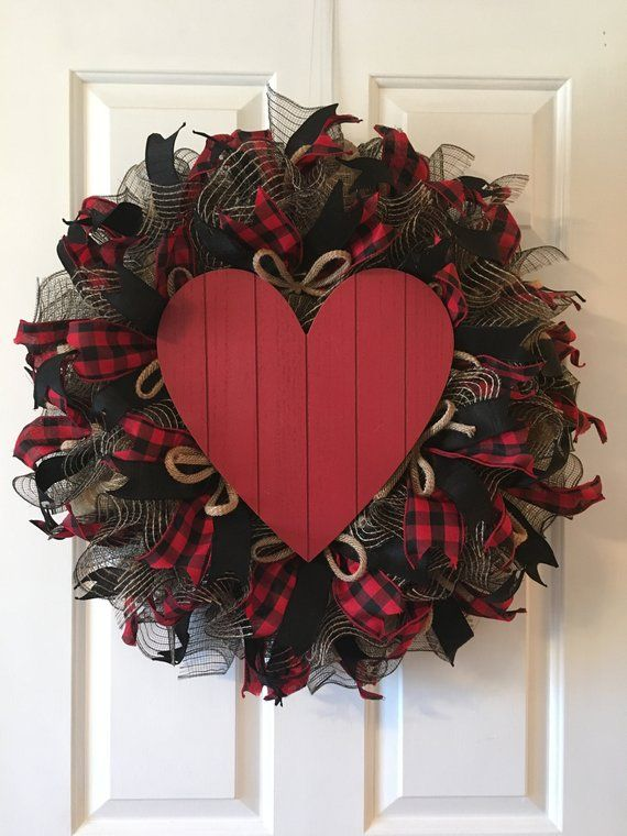 20f7f5a568cec Red Rustic Heart Wreath is perfect for Valentines Day or any time of the  year.