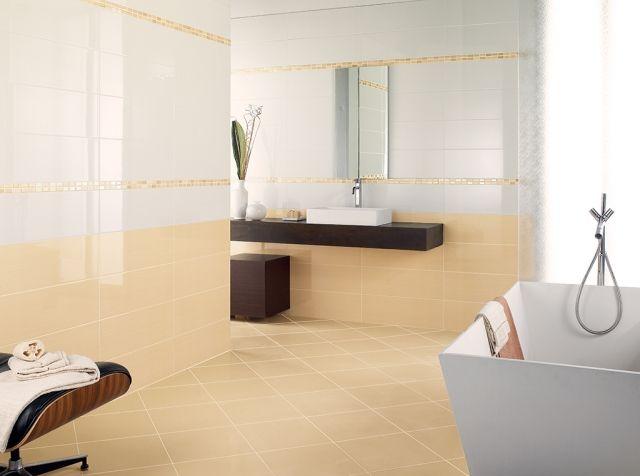 keramik bad fliesen gelblich weiß mosaik bordüre Haus - badfliesen ideen mit mosaik