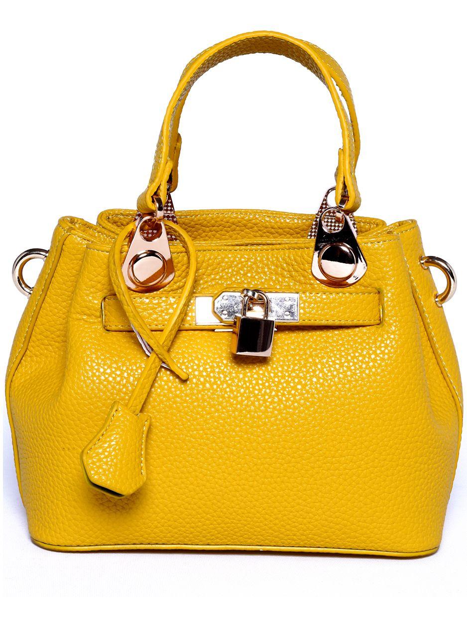 Pu Tote OnlineSheinside Bag Shop Yellow Embellished Buckle Lock EDH2WY9I