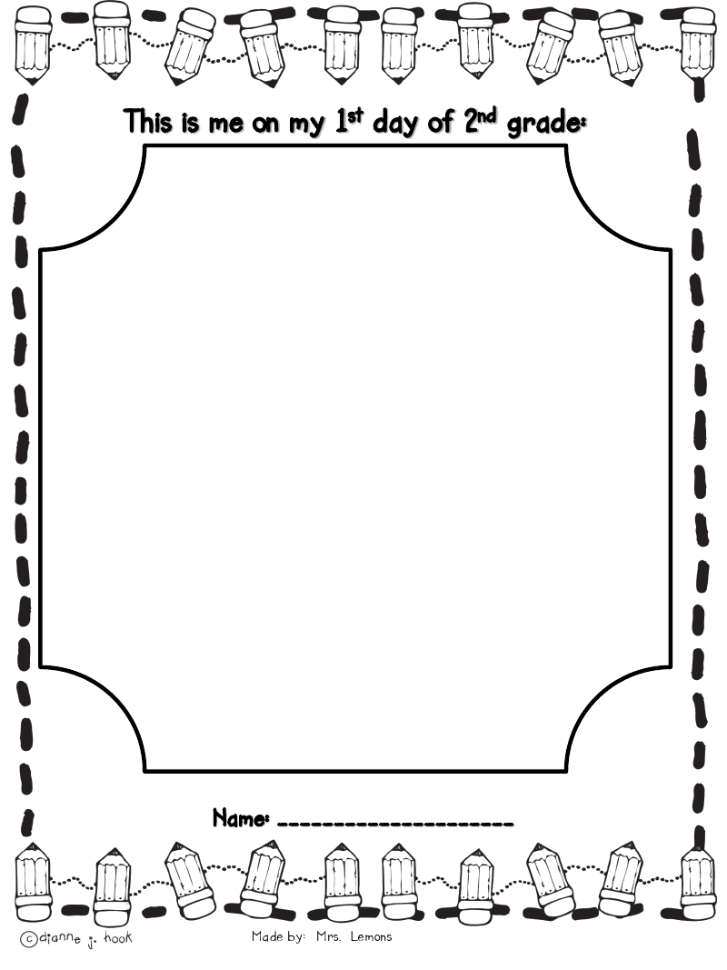 worksheet First Day Jitters Worksheets step into 2nd grade with mrs lemons borders frames pinterest first week writing activities freebie