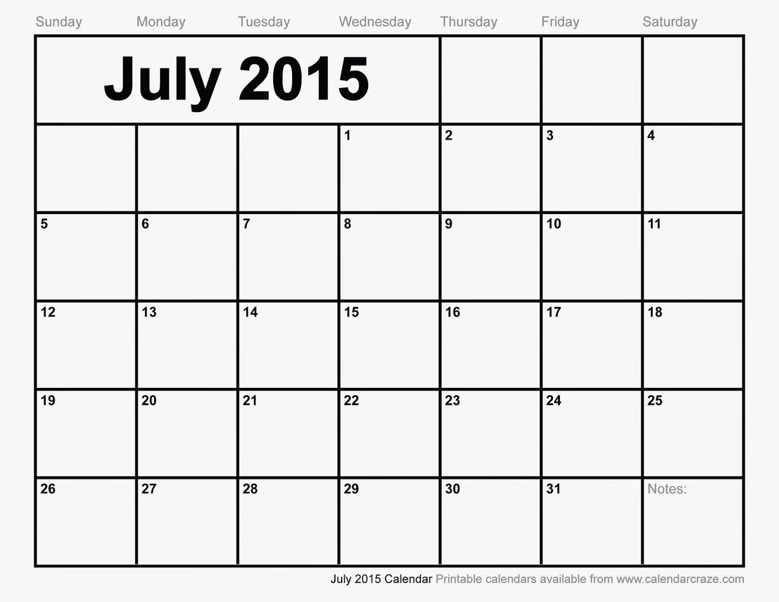 Free Printable Calendar: Free Printable Calendar July | Calendar ...