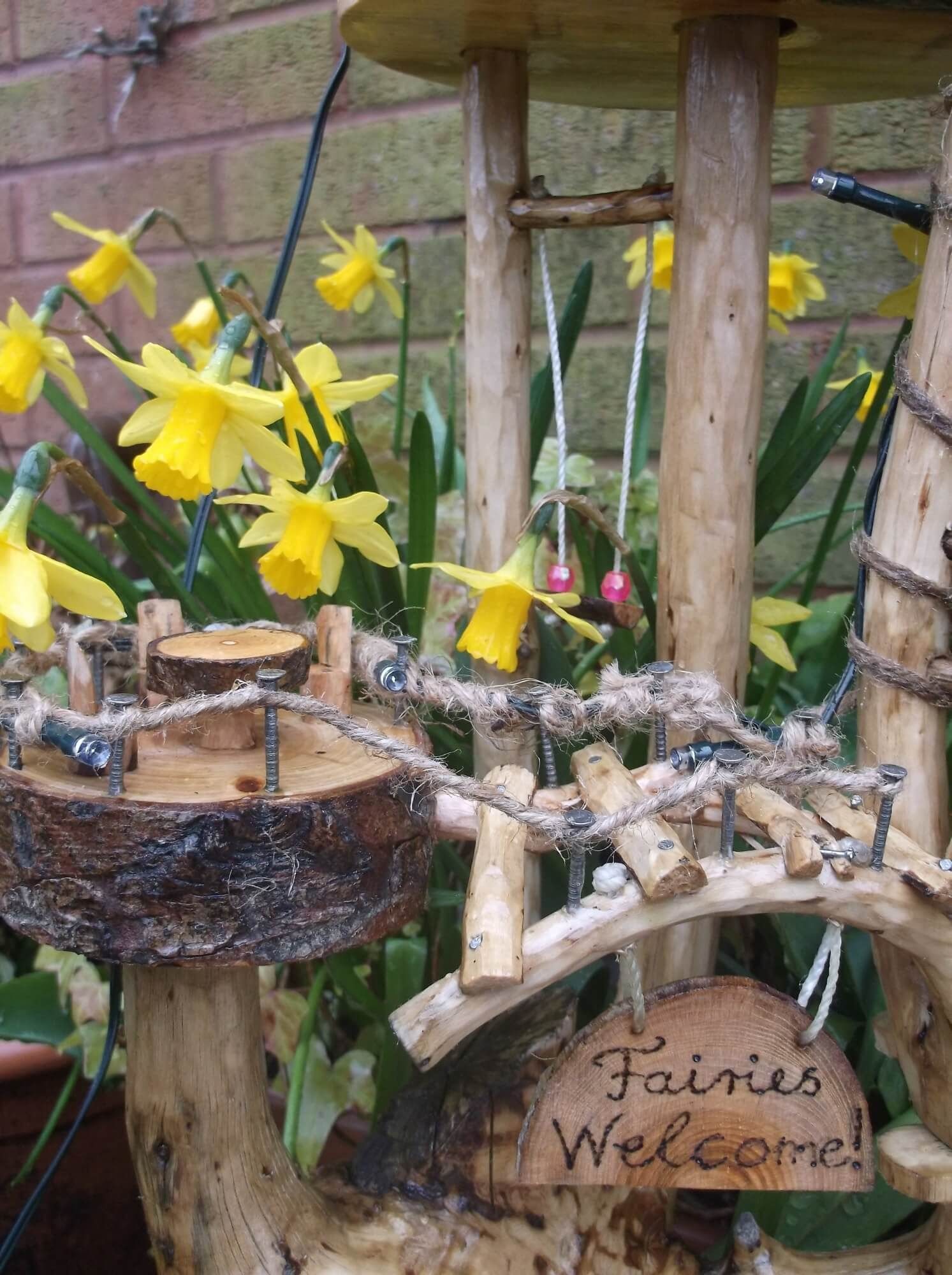 Wooden Fairy House With Solar Lights