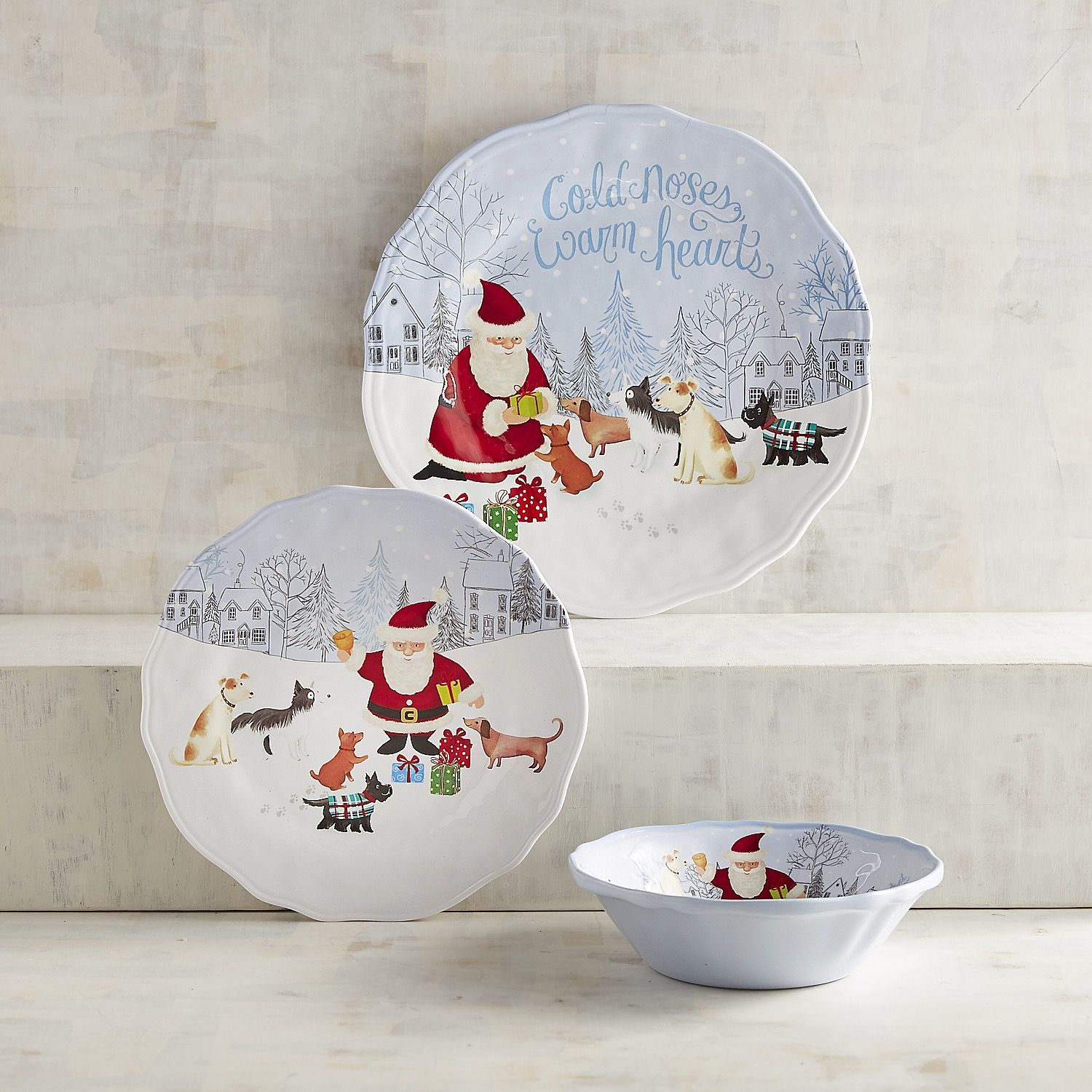Your furry friends love Christmas just as much as you do and our adorable and durable holiday dinnerware is a perfect way to show it. & Cold Noses Warm Hearts Melamine Dinnerware | Melamine dinnerware ...