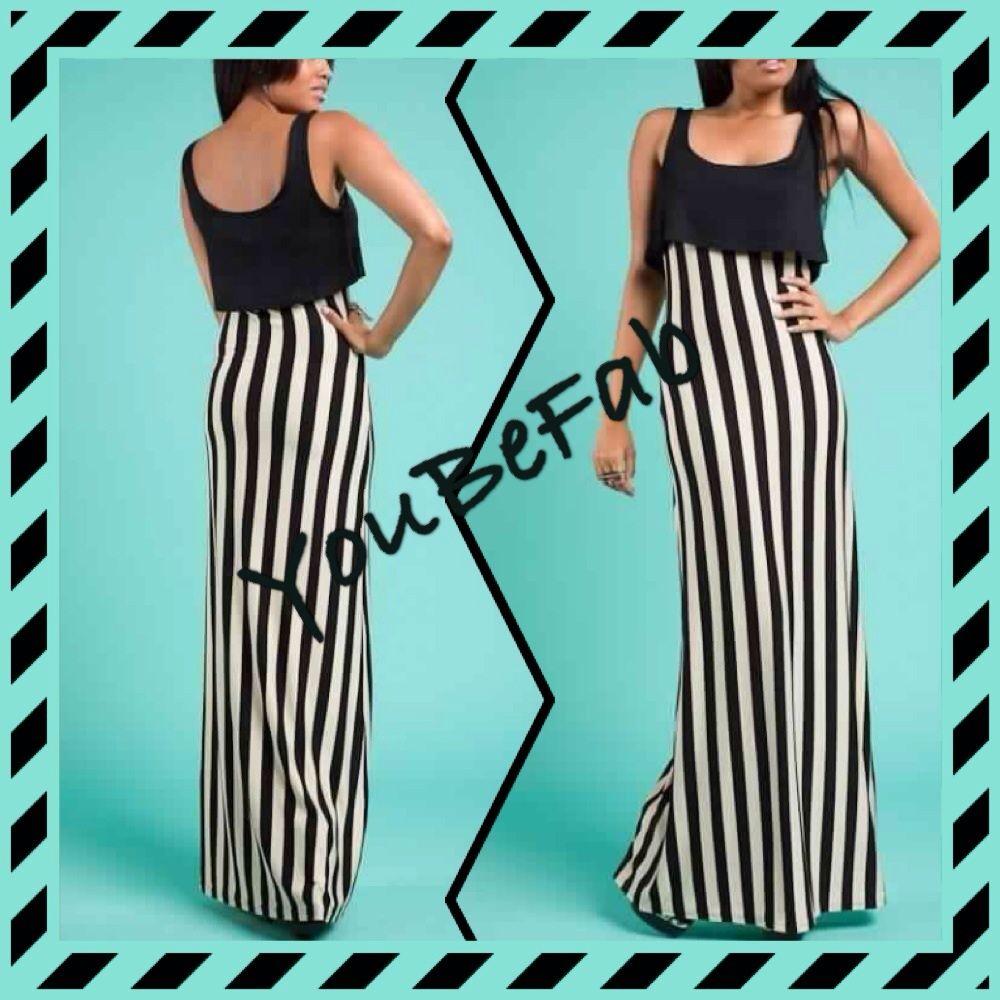 Black & Off White Stripe Sleeveless Maxi Dress