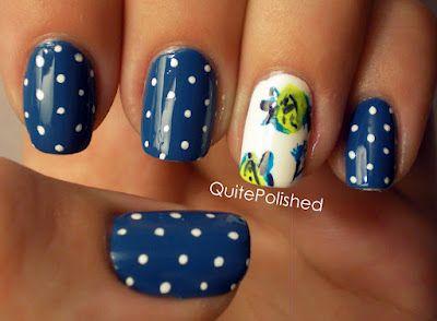 Flowers and Polka Dots nail art